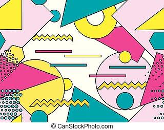 Memphis seamless pattern. Geometric objects with stroke,...