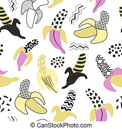 Memphis Seamless Pattern with Banana. Abstract Trendy Fabric Background with Hand Drawn Elements for Textile, Wrapping, Fashion Design. Vector illustration