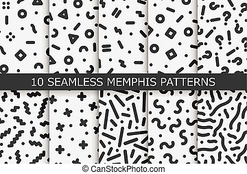 Memphis seamless patterns - vector swatches collection. Fashion 80-90s. Black and white textures