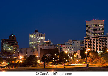 Memphis skyline at night - Highrises of Memphis, Tennessee...