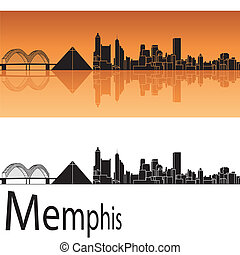 Memphis skyline in orange background in editable vector file