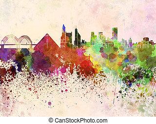 Memphis skyline in watercolor background