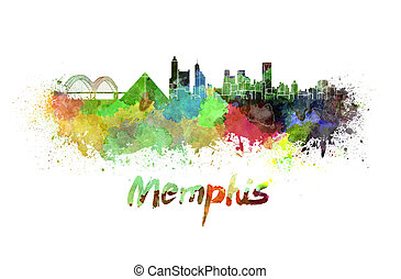 Memphis skyline in watercolor splatters with clipping path