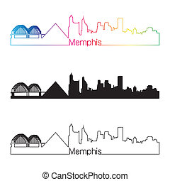 Memphis skyline linear style with rainbow in editable vector...