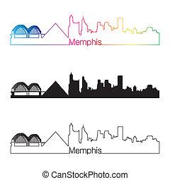 Memphis skyline linear style with rainbow in editable vector file