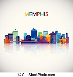Memphis skyline silhouette in colorful geometric style.