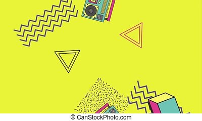 memphis funky boombox radio abstract shapes animation hd