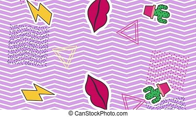 memphis style animation - memphis stickers style retro pop...