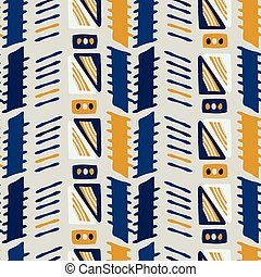 Memphis Style Geometric Abstract Seamless Vector Pattern Yellow and Blue