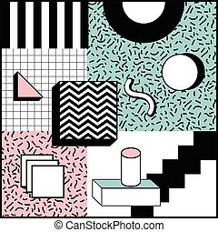 Memphis Style Geometric Background Playful Design