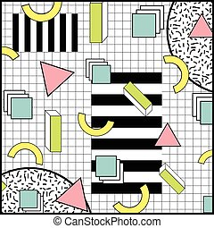 Memphis Style Geometric Colorful Background