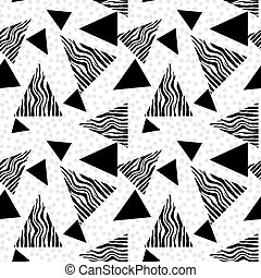 Memphis style hand drawn textured seamless pattern