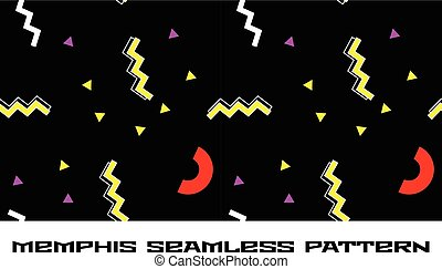 Memphis style seamless pattern with 80s shapes