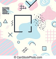 Memphis style seamless pattern with geometrical and liquid...