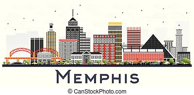 Memphis Tennessee City Skyline with Color Buildings Isolated on White.