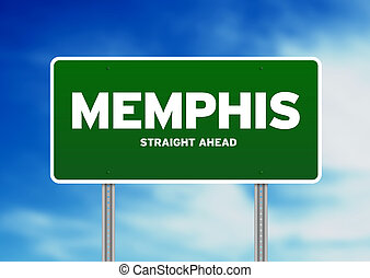 Memphis, Tennessee Highway Sign - Green Memphis, Tennessee,...