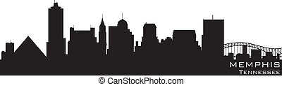 memphis, tennessee, skyline., detallado, vector, silueta