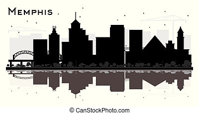 Memphis Tennessee Skyline Silhouette with Black Buildings and Reflections Isolated on White.