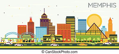 Memphis Tennessee Skyline with Color Buildings and Blue Sky.