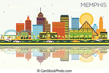 Memphis Tennessee Skyline with Color Buildings, Blue Sky and Reflections.