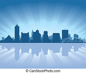 Memphis, Tennessee skyline with reflection in water