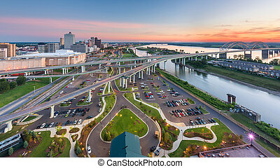 Memphis, Tennessee, USA aerial skyline view with downtown and Mud Island
