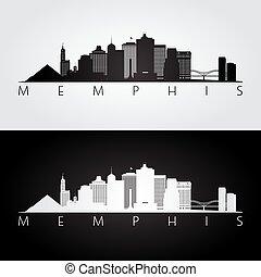 Memphis, USA skyline and landmarks silhouette