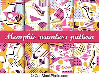 memphis, vector, pattern., seamless
