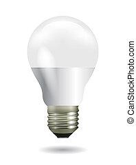 mené, blanc, inspiration, ampoule, concept, lumière