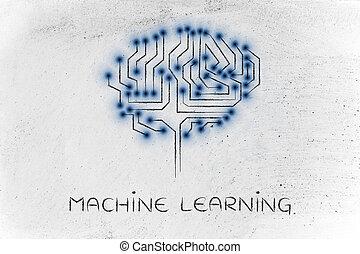mené, circuit, cerveau, lumières, machine, sous-titre, ...