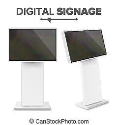 mené, display., écran, kiosque, isolé, illustration, terminal, kiosk., vector., numérique, toucher, informationnel, interactif