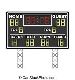 mené, illustration., dots., score., football, américain, temps, jeu, vecteur, numérique, sport, home., invité, scoreboard.