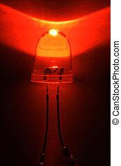 mené, lumière, -, diode, émettre, rouges