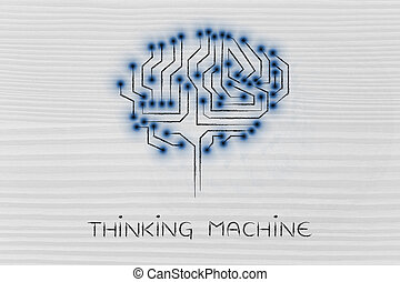 mené, pensée, lumières, machine, cerveau, circuit, puce
