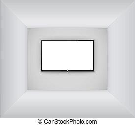 mené, salle, tv, pendre, lcd, noir, vide, ou