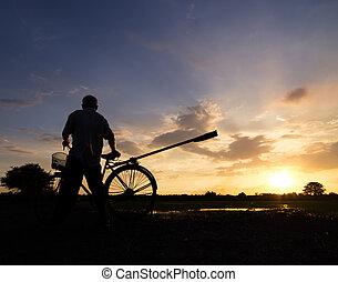mené, silhouette, bike., agriculteurs