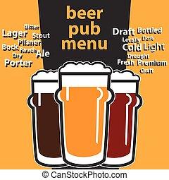 menú, bar, temas, cerveza, vector, diseño, mecanografía, ...
