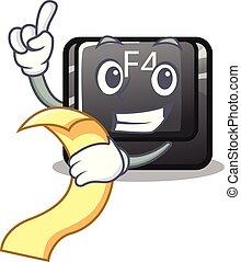 menú, botón, f4, forma, caricatura