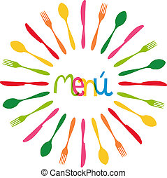 menú, círculo, cubiertos, ilustración