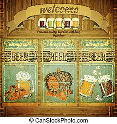 menú, cerveza, bar