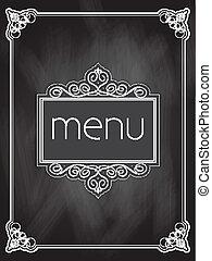 menú, diseño, pizarra