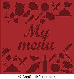 menú, diseño, rojo