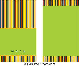 menú, diseño, verde