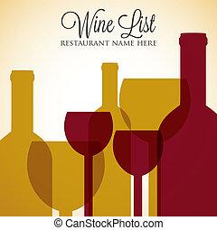 menú, format., lista, cubierta, vector, rojo blanco, vino