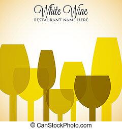 menú, format., lista, cubierta, vector, vino blanco