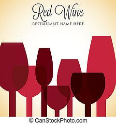 menú, format., lista, cubierta, vector, vino rojo