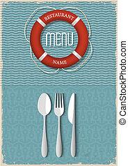 menú, mariscos, diseño, retro, restaurante