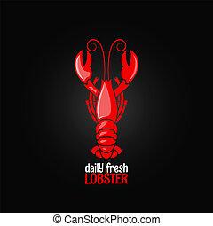 menú, mariscos, langosta, plano de fondo, diseño