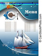 menú, pez, (cafe), restaurante