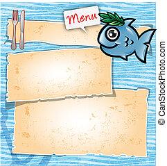 menú, pez, caricatura